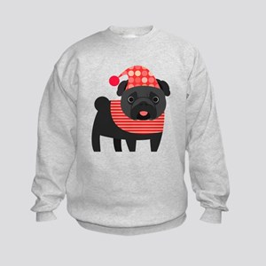 Christmas Pug - Black Kids Sweatshirt