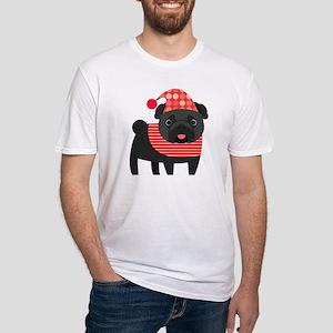 Christmas Pug - Black Fitted T-Shirt