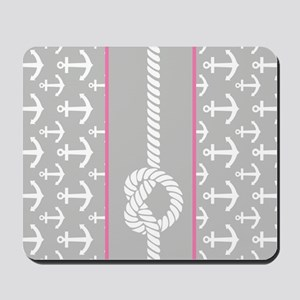Gray and Pink Anchor Nautical Rope Mousepad