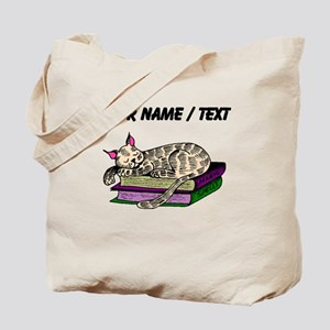 Custom Cat Sleeping On Books Tote Bag