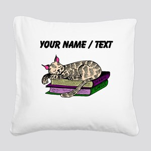 Custom Cat Sleeping On Books Square Canvas Pillow
