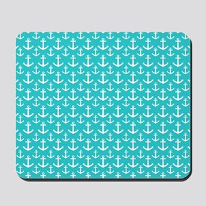 Teal and White Anchors Pattern Mousepad