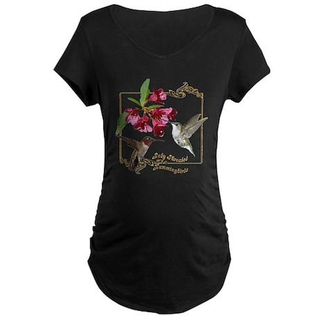 Hummingbird Pair Maternity Dark T-Shirt