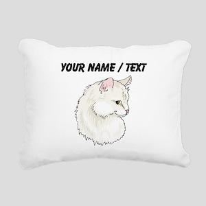 Custom White Cat Rectangular Canvas Pillow