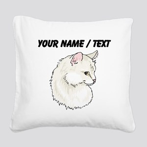 Custom White Cat Square Canvas Pillow