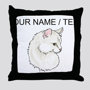 Custom White Cat Throw Pillow