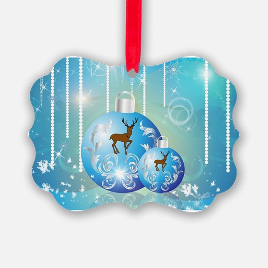Christmas balls in blue with reindeer on blue back