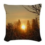 Sunrise in the Trees Woven Throw Pillow