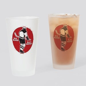 Give Blood Play Hockey Drinking Glass