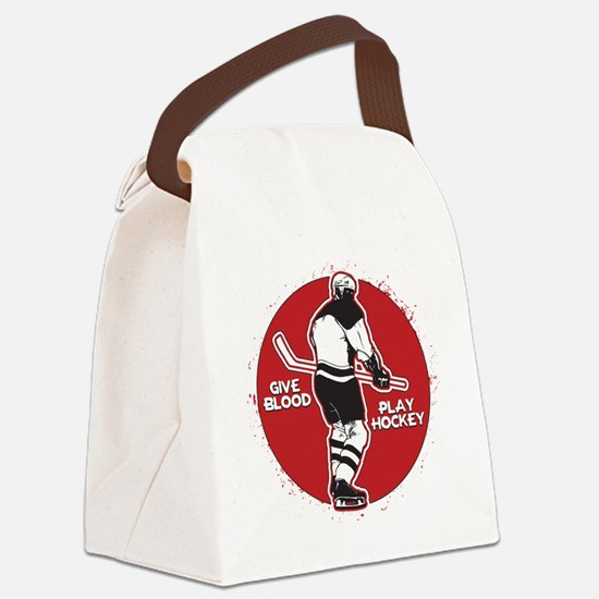 Give Blood Play Hockey Canvas Lunch Bag