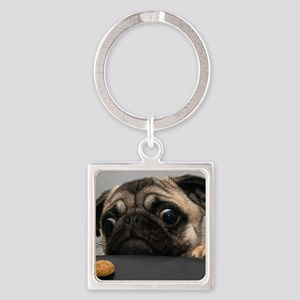 Cute Pug Square Keychain