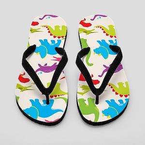 Cool Colorful Kids Dinosaur Pattern Flip Flops