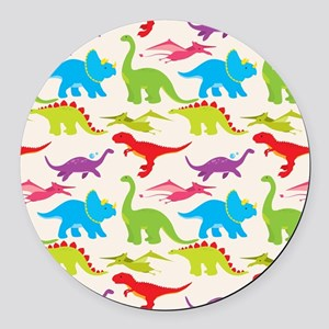 Cool Colorful Kids Dinosaur Pattern Round Car Magn