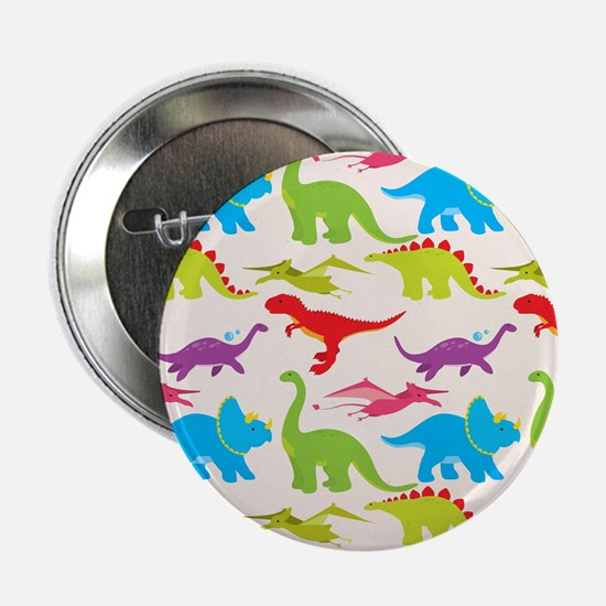 "Cool Colorful Kids Dinosaur Pattern 2.25"" Button ("