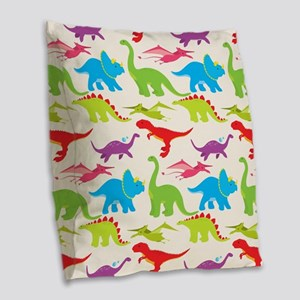 Cool Colorful Kids Dinosaur Pattern Burlap Throw P