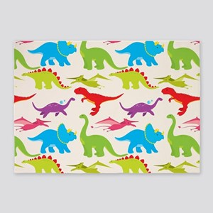 Cool Colorful Kids Dinosaur Pattern 5'x7'Area Rug