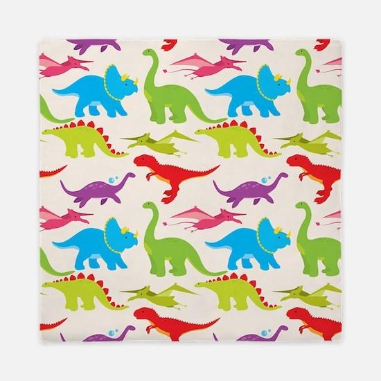 Cool Colorful Kids Dinosaur Pattern Queen Duvet