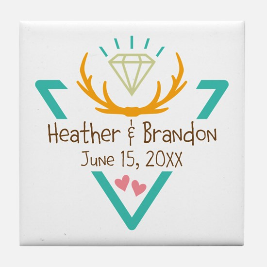 Hipster Wedding or Engagement Gift Tile Coaster