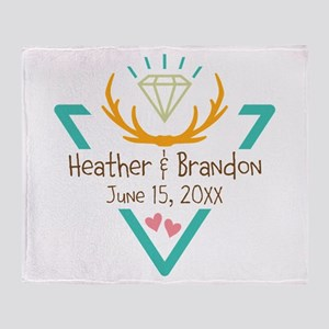 Hipster Wedding or Engagement Gift Throw Blanket