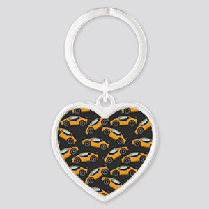 Cool Orange Race Car Pattern Keychains