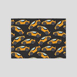 Cool Orange Race Car Pattern 5'x7'Area Rug