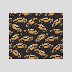 Cool Orange Race Car Pattern Throw Blanket