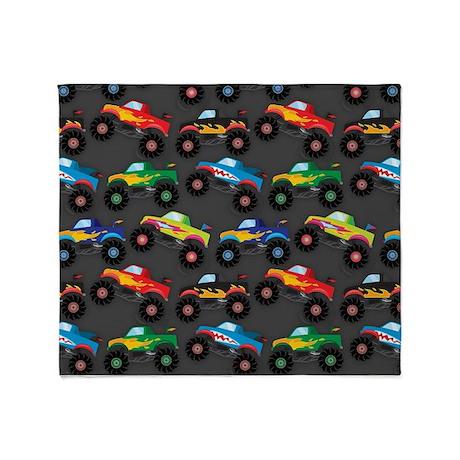 Cool Monster Trucks Pattern, Colorful Kids Throw B