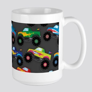 Cool Monster Trucks Pattern, Colorful Kids Mugs