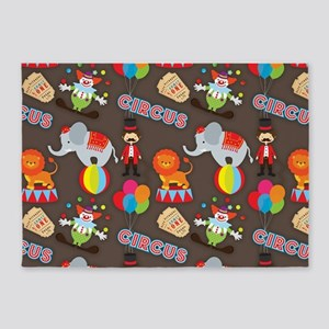 Cute Colorful Circus Clown and Animals Pattern 5'x