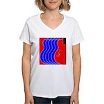 Red & Blue Women's V-Neck T-Shirt