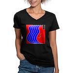Red & Blue Women's V-Neck Dark T-Shirt