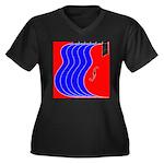 Red & Blue Women's Plus Size V-Neck Dark T-Shirt