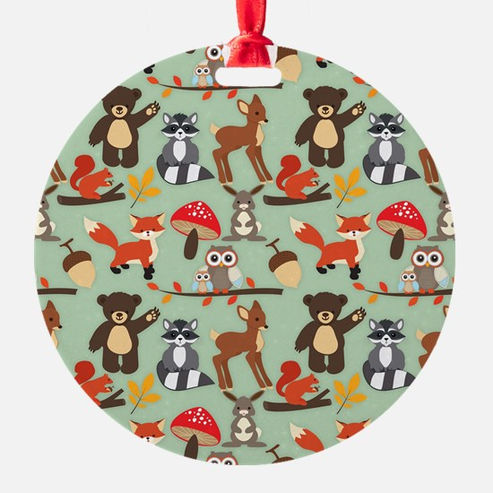 Cute Forest Woodland Animals Pattern Ornament