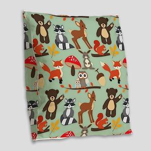 Cute Forest Woodland Animals Pattern Burlap Throw