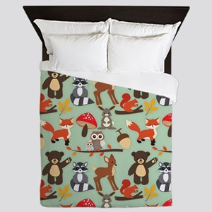 Cute Forest Woodland Animals Pattern Queen Duvet