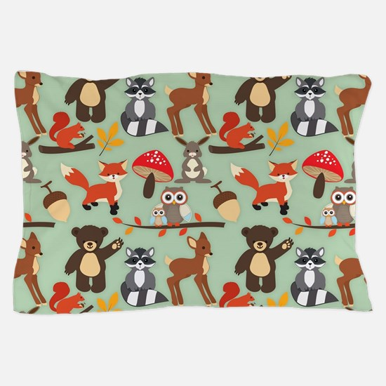 Cute Forest Woodland Animals Pattern Pillow Case