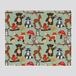 Cute Forest Woodland Animals Pattern Throw Blanket