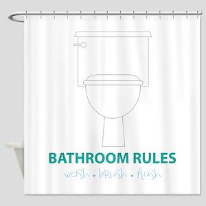 Toilet Etiquette Shower Curtain