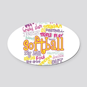 Softball Oval Car Magnet
