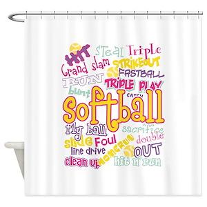 Girls Softball Shower Curtains