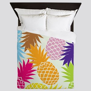 Colorful pineapples patterns Queen Duvet