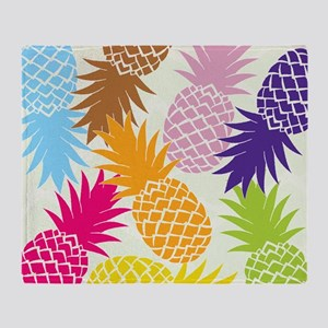 Colorful pineapples patterns Throw Blanket