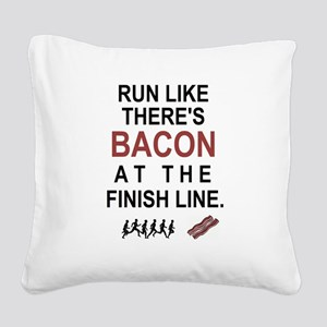 Will Run for Bacon Square Canvas Pillow