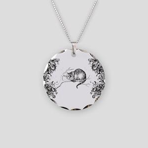 Cheshire Cat Swirls Necklace Circle Charm