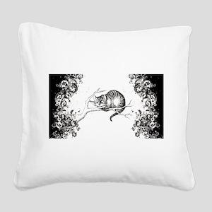 Cheshire Cat Swirls Square Canvas Pillow