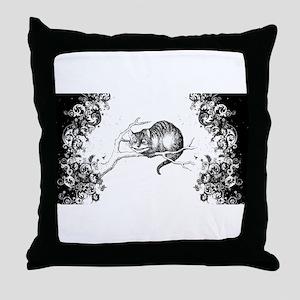Cheshire Cat Swirls Throw Pillow