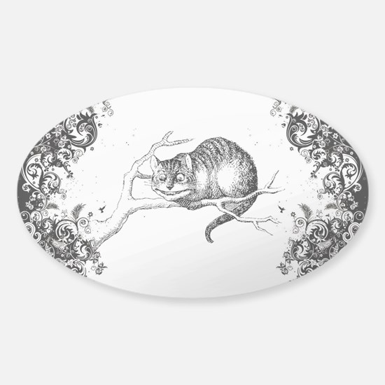 Cheshire Cat Swirls Sticker (Oval)