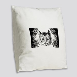 Cheshire Cat Swirls Burlap Throw Pillow