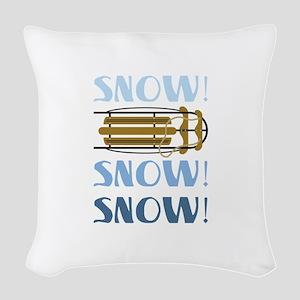 Snow Sled Woven Throw Pillow