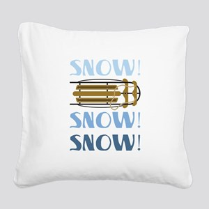 Snow Sled Square Canvas Pillow